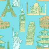 Sketch Eiffel tower, Pisa tower, Big Ben, Taj Mahal, Coliseum, C — Stock Vector