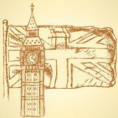 Эскиз Биг Бен на плитке с флагом Великобритании, Векторный фон — Cтоковый вектор
