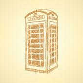 Sketch London phone cabin, vector  background — Stock Vector