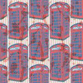 Sketch London phone cabin, vector seamless pattern — Stock Vector
