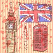 Sketch Big Ben, UK flag and phone cabin, vector  background — Stock Vector