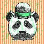 Sketch panda in hat with mustache, vector  background — Stock Vector