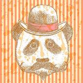 Sketch panda in hat with mustache — Stock Vector