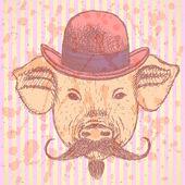 Maiale in cappello con mustche, vettore ONTESTO di schizzo — Vettoriale Stock