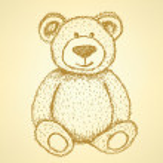 Sketch Teddy bear, vector vintage background — Stock Vector #47381699