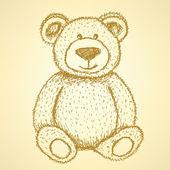 Sketch Teddy bear, vector vintage background — Stock Vector