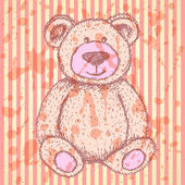 Sketch Teddy bear, vector vintage background — Stock Vector