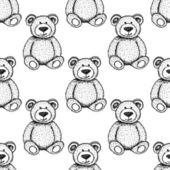 Sketch Teddy bear, vector seamless pattern — Stock Vector
