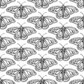 Sketch butterfly, vector vintage seamless pattern — Stock Vector