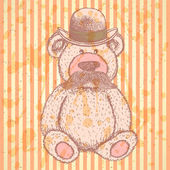 Sketch Teddy bear in hat with mustache, vector background — Stock Vector