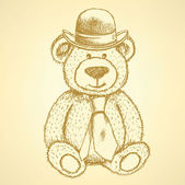 Sketch Teddy bear in hat and cravat, vector  background — Stock Vector