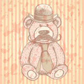 Szkic misia w kapelusz i krawat z wąsem, troska wektor — Wektor stockowy
