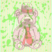 Sketch Teddy bear in hat and tie with mustache, vector backgroun — Stock vektor
