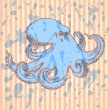 Sketch octopus, vector background — Stock Vector