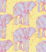 Sketch elephant, vector vintage seamless pattern — Stock Vector