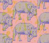 Sketch hippo, vector vintage seamless pattern — Stock Vector