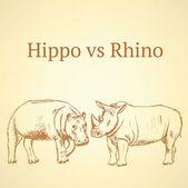 Sketch hippo vs rhino, vector seamless pattern eps 10 — Stock vektor