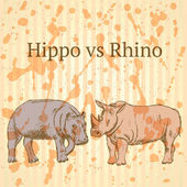 Sketch hippo vs rhino, vector seamless pattern eps 10 — Stock Vector