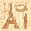 Sketch Eiffel tower, lipstick and cup, vector background — Stock Vector