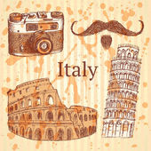 Sketch Italy set, vector vintage background — Stock Vector