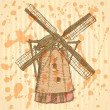 Sketch Holand windmill, vector vintage background — Stock Vector #48374551