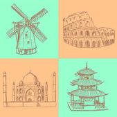 Sketch historic buildings, vector vintage background — Stock Vector