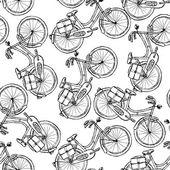 Sketch bicycle, vector vintage seamless pattern — Stok Vektör
