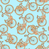 Sketch bicycle, vector vintage seamless pattern — Vecteur