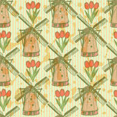 Sketch tulip and windmill, vector  seamless pattern — Stockvector