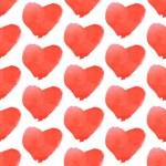 Aquarell heart, vector vintage seamless pattern — Stock Vector