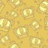 Sketch crown, vector vintage seamless pattern — Stok Vektör