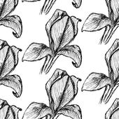 Sketch iris, vector vintage seamless pattern — Vecteur