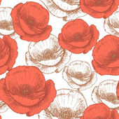 Sketch poppy, vector vintage seamless pattern — Vecteur
