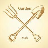 Tuin vork en schop, achtergrond in schets stijl — Stockvector