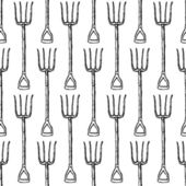 Sketch garden fork, vector  seamless pattern — Stock Vector