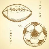 Schets voetbal versus de amerikaanse voet bal — Stockvector