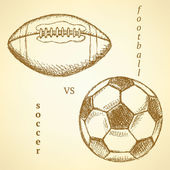 Sketch soccer versus american football ball — Vecteur