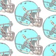 Sketch football helmet, vector seamless pattern — Stock Vector