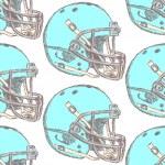 Sketch football helmet, vector seamless pattern — Stock Vector
