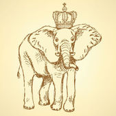 Sketch elephant in crown, vector background — Stok Vektör