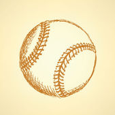 Sketch cute baseball ball, vector  background — Stock Vector