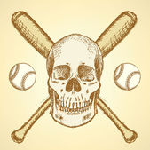 Sketch baseball ball, bat and scull — Stock Vector