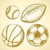 футбол, американский футбол, бейсбол и баскетбол мяч — Cтоковый вектор