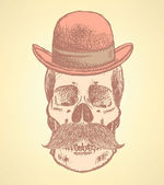 Sketch scull with mustache and in hat — Vecteur