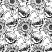 Sketch poppy and sunflower,  vintage seamless pattern — Stock Vector