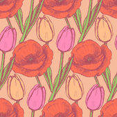 Sketch tulip and poppy — Stockvector