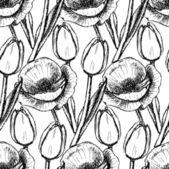 Sketch tulip and poppy — Stock Vector