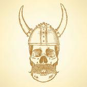 Sketch skull in viking helmet — ストックベクタ