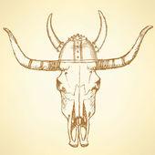 Sketch texas longhorn steer — Stock Vector