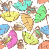 Sketch open umbrella and hat — Vector de stock